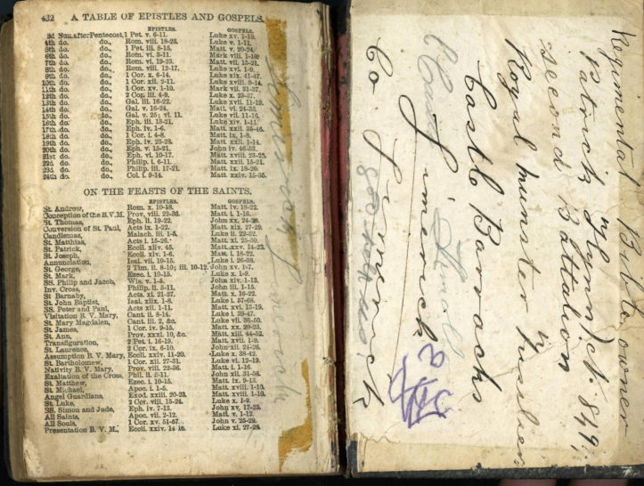 Photograph of Patrick Flynn's Service Bible (kindly provided by his family)