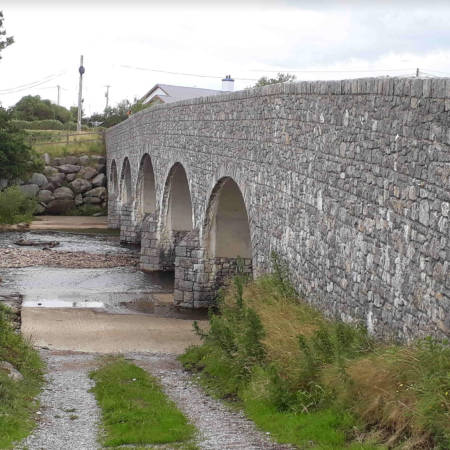 Droichead na Geadaí/Gaddagh Bridge as re-built in 2008 following the destruction of the old bridge during a flood in 2006.